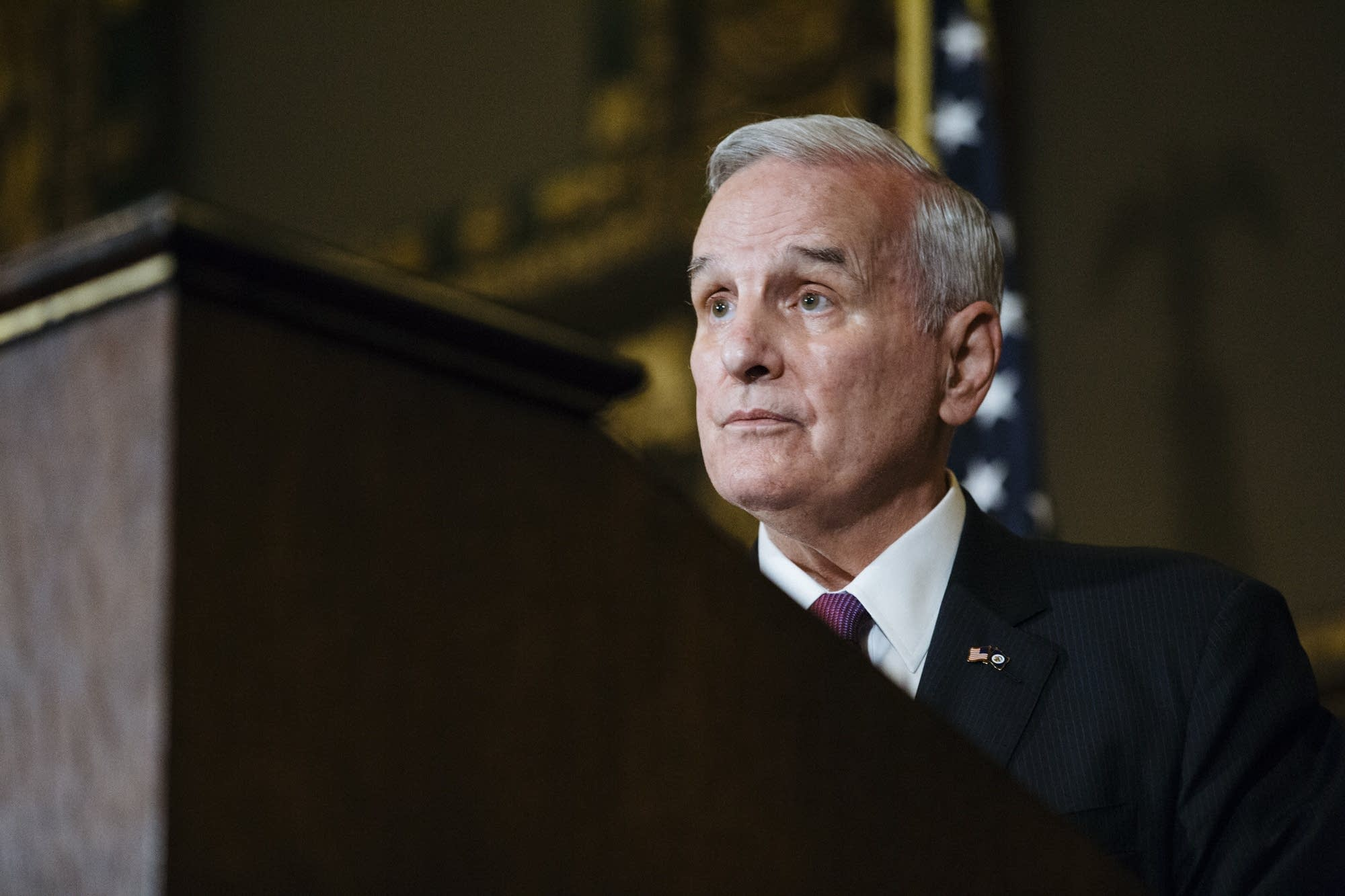 DFL Gov. Mark Dayton listens to reporter's questions