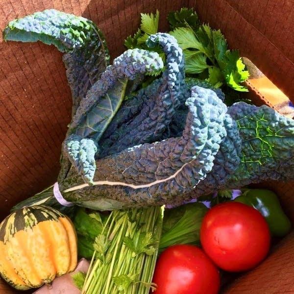 fresh produce in a box