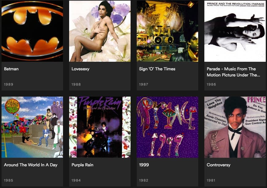 Prince's albums, now available for streaming