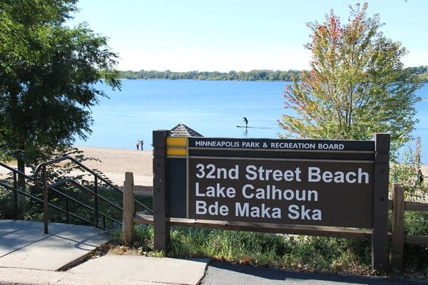 The new signs include the lake's Dakota name