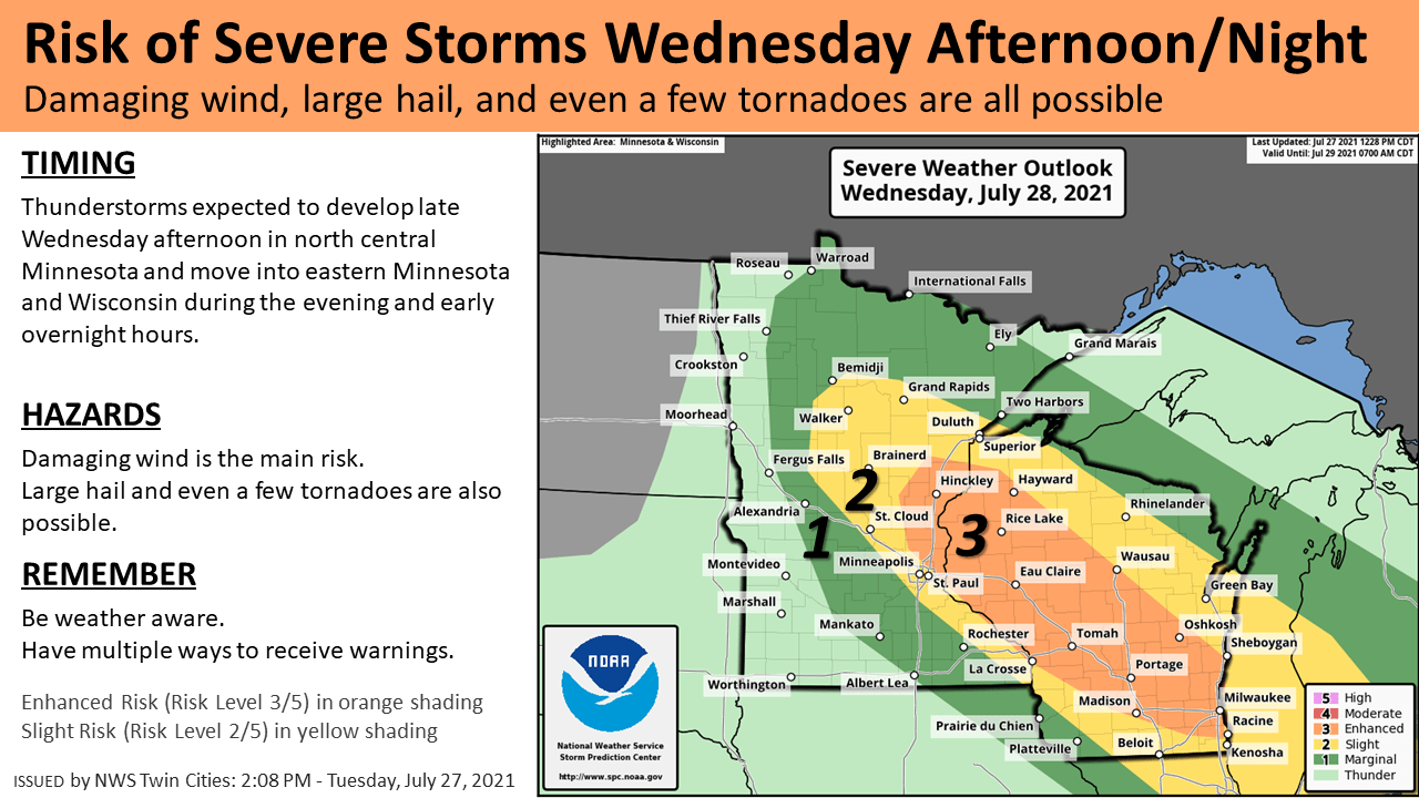 Severe weather risk zone Wednesday