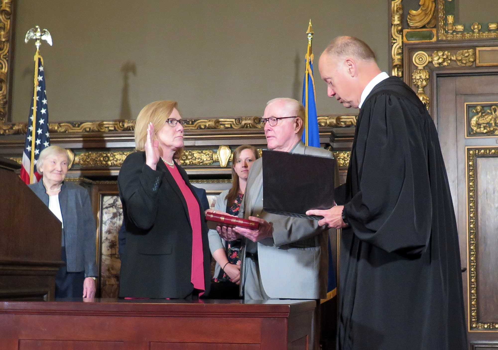 Michelle Fischbach took the oath of office for lieutenant governor.