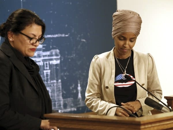 Rep. Ilhan Omar, D-Minn., right, and Rep. Rashida Tlaib, D-Mich.