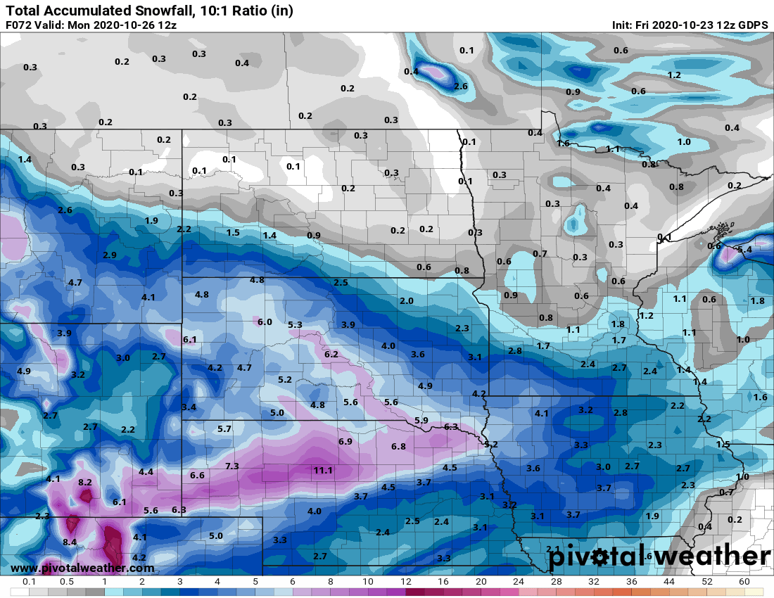 Canadian model snowfall output Sunday