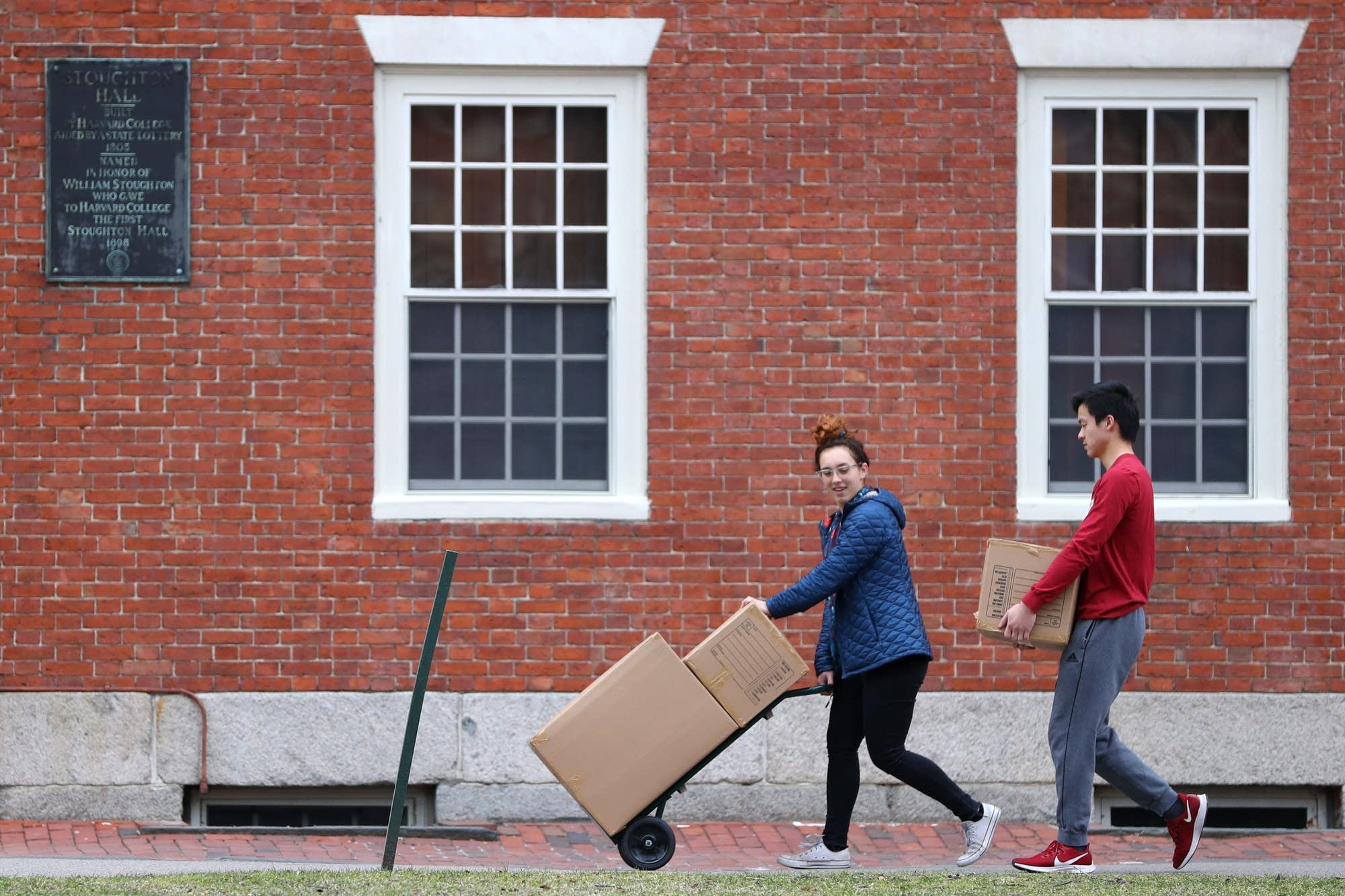 Students move out of dorm rooms at Harvard University