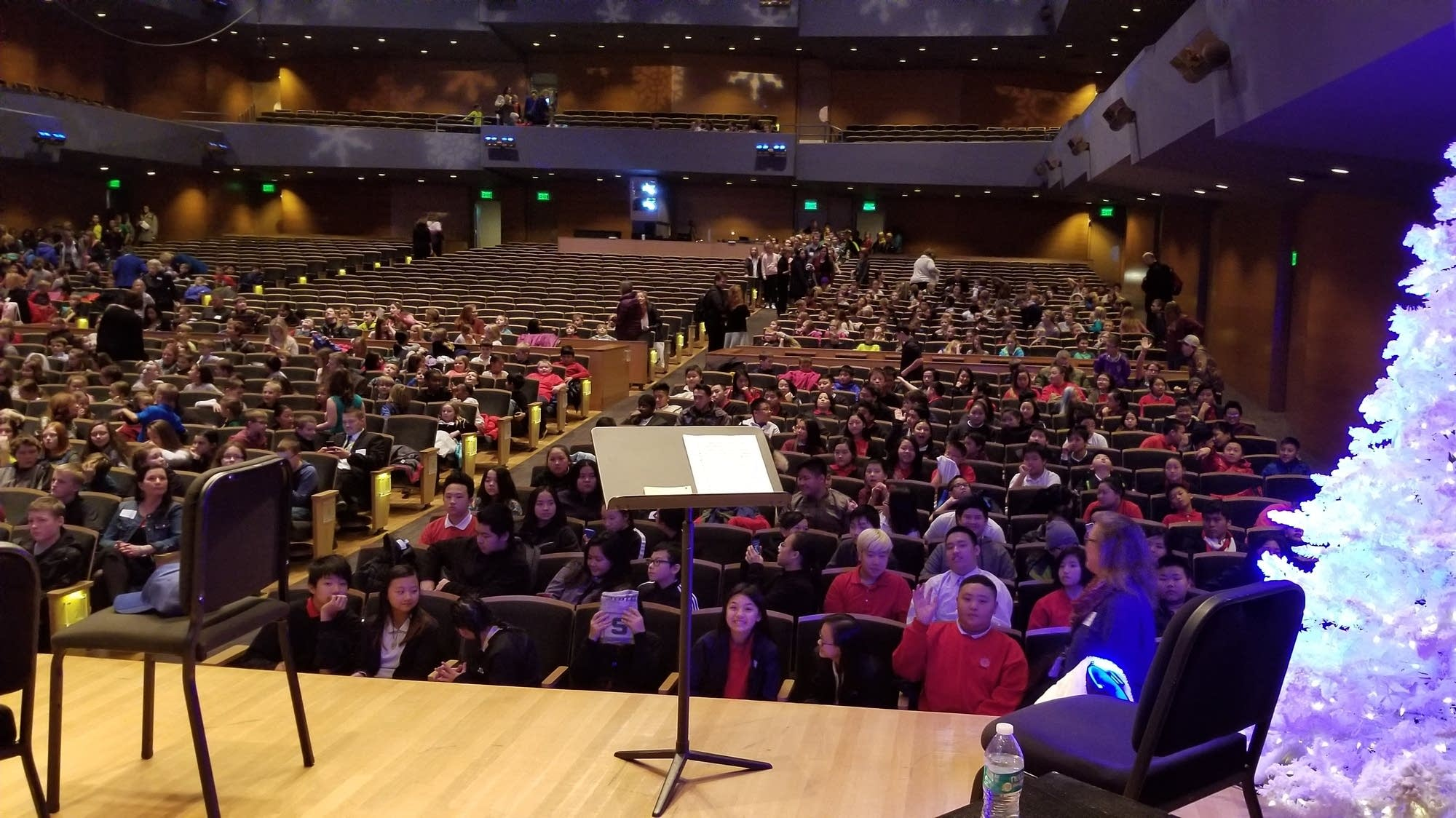 School kids crowd into Orchestra Hall for Stories in Music.