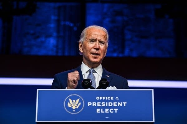 President-elect Joe Biden speaks during a cabinet announcement event