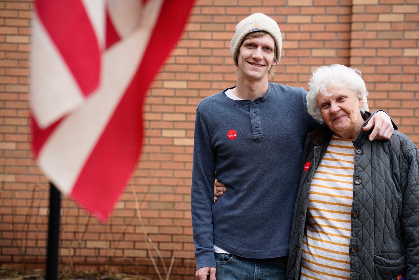 Voters Kathy King and her son, Cory, after voting in the 2nd District.