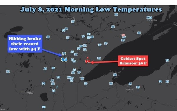 Low temperatures Thursday morning