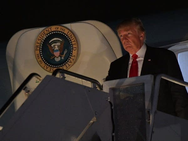 President Trump steps off Air Force One
