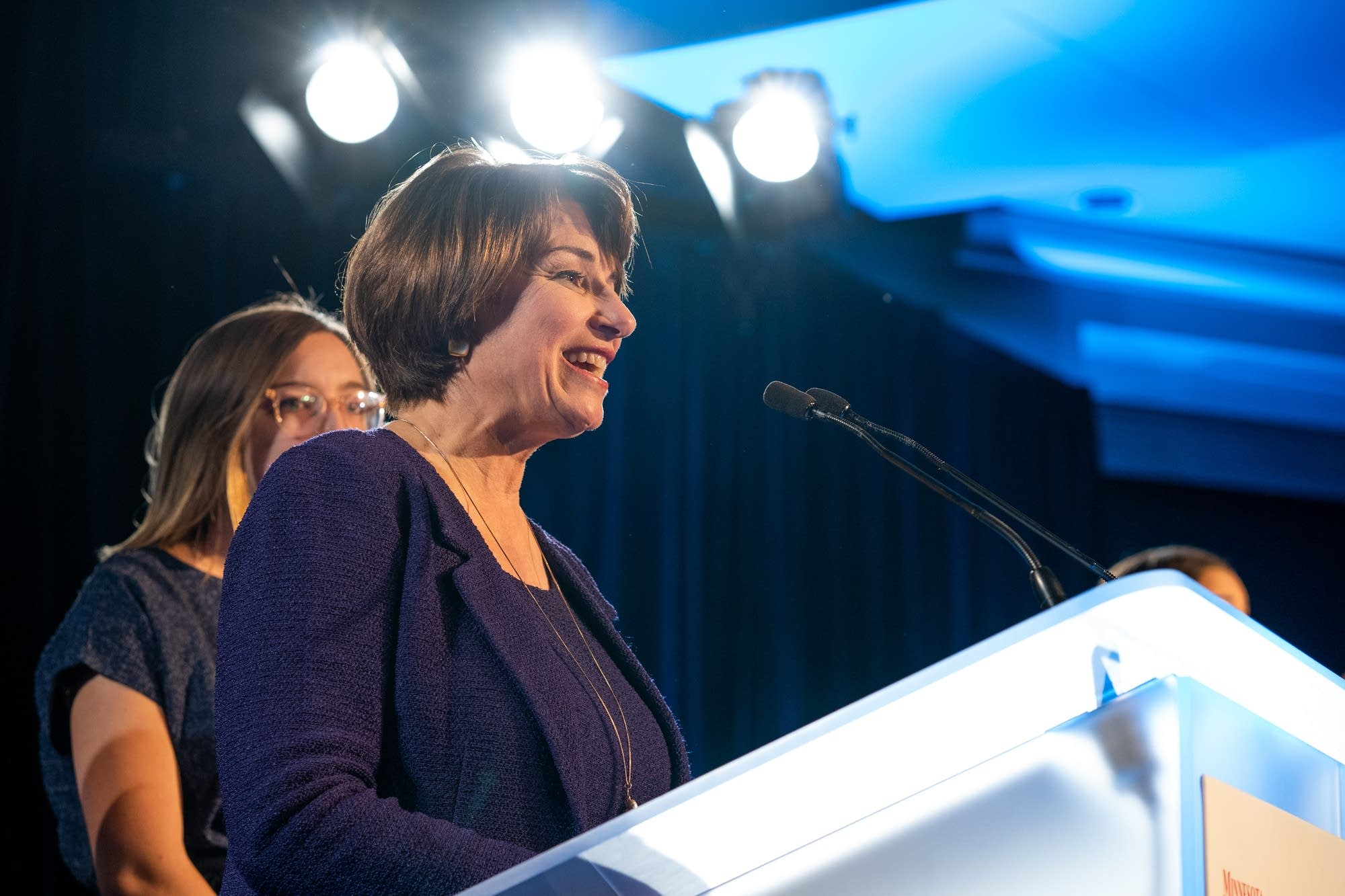 Sen. Amy Klobuchar speaks to the crowd at the DFL election night party.