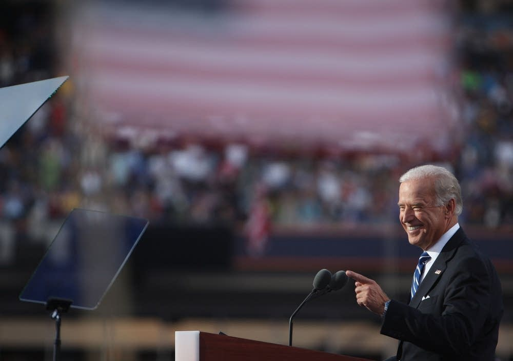 Joe Biden addresses the crowd at the DNC
