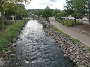 Fox River flows through Waukesha, Wis.