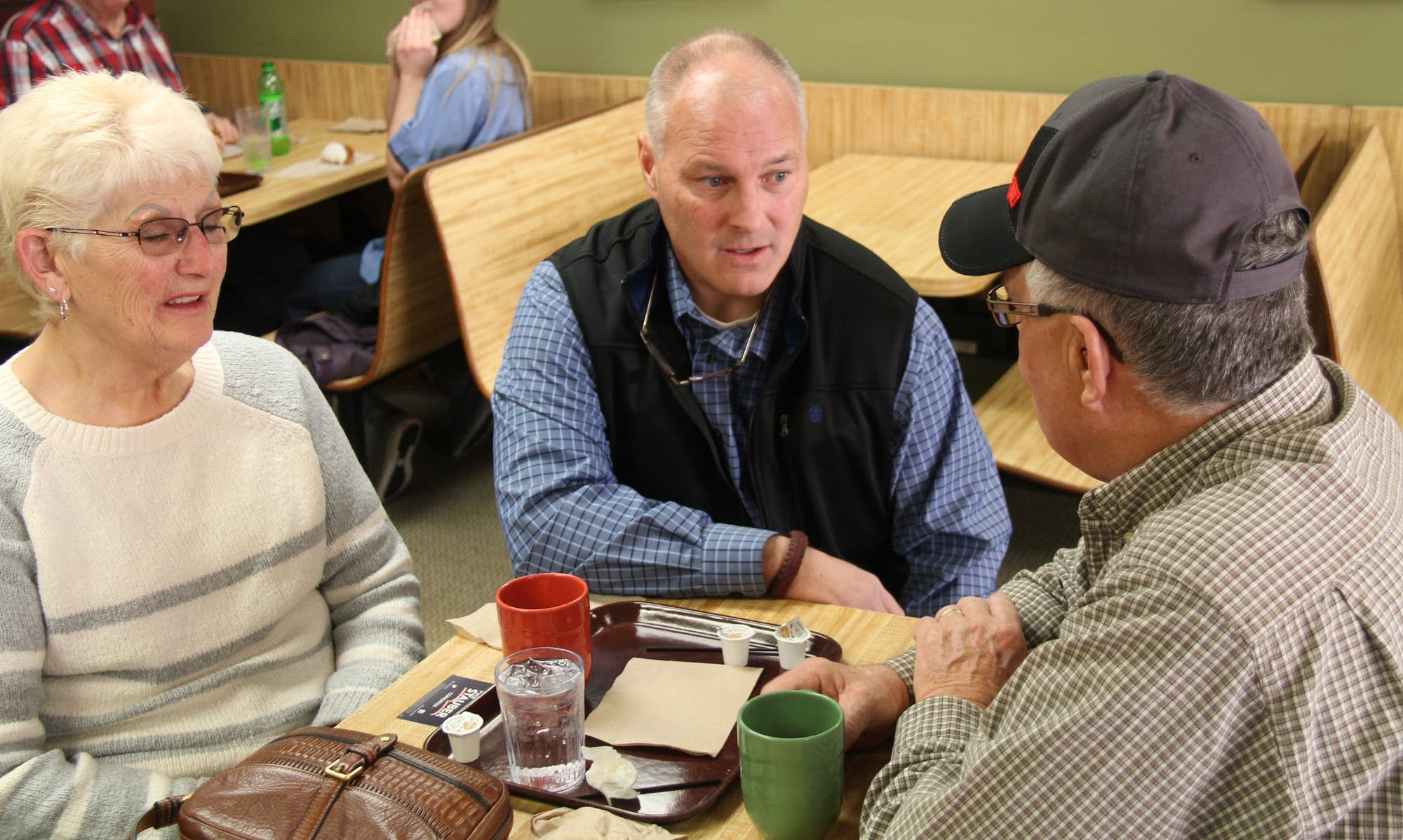 Pete Stauber campaigns at Herman's Bakery Coffee Shop in Cambridge.
