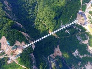 Glass-bottom bridge at Zhangjiajie Grand Canyon