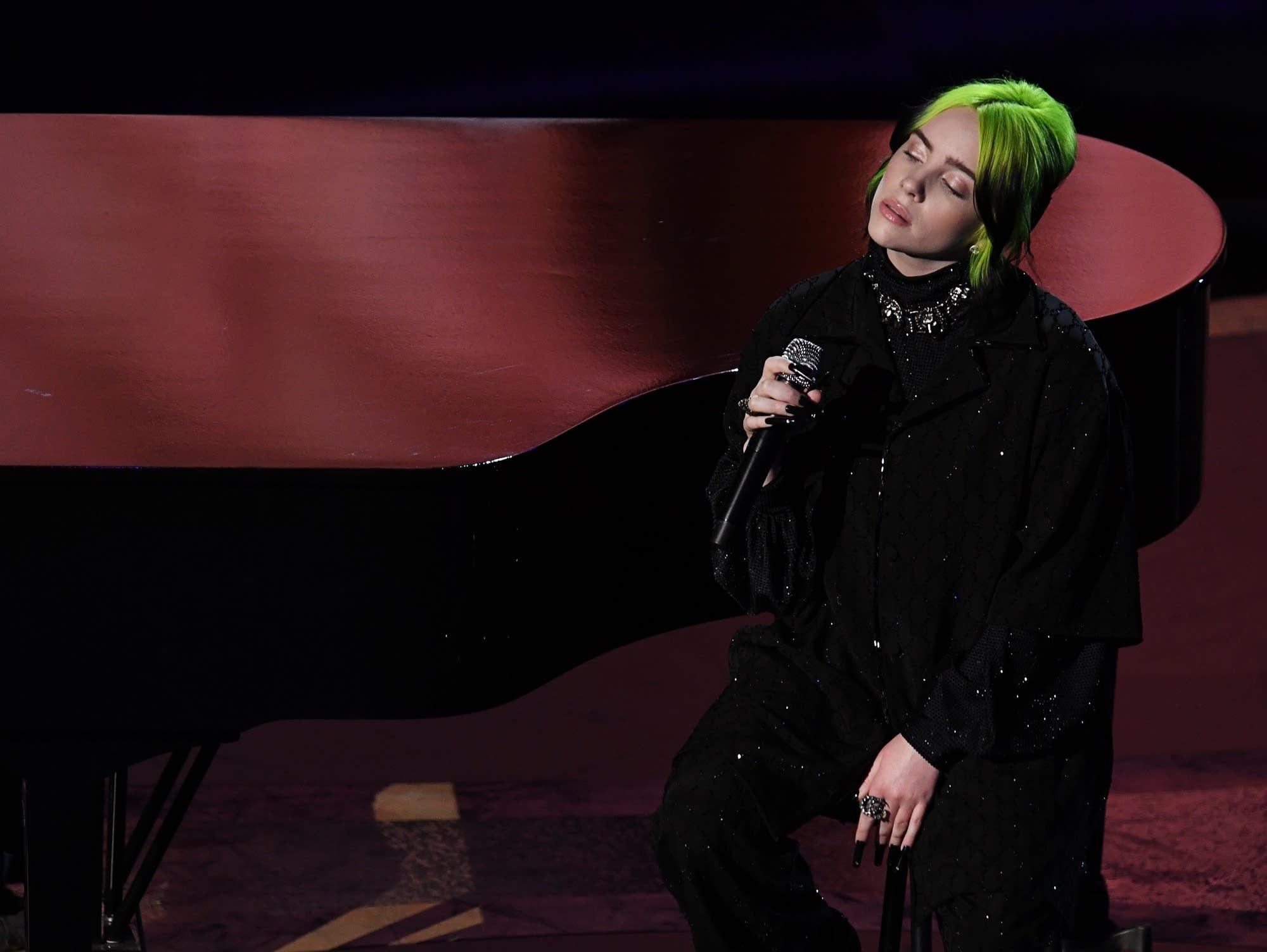 Billie Eilish performs at the Academy Awards, February 2020.