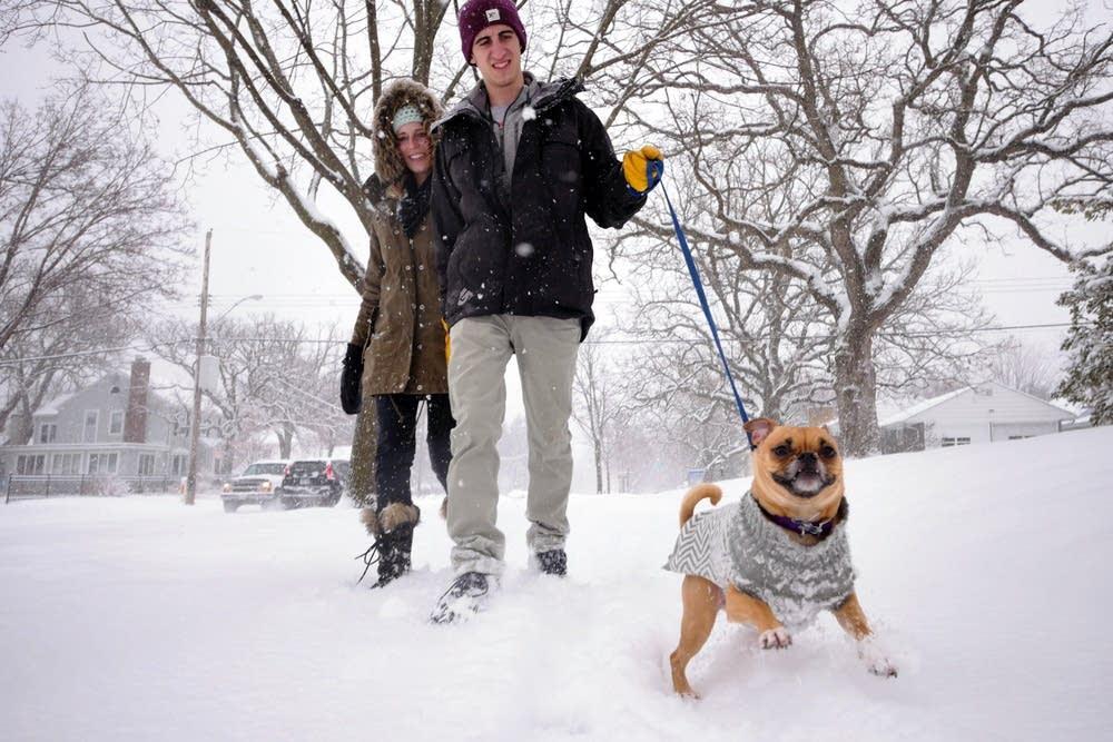 Mycah and Bobby Burns take Kodak for a walk.