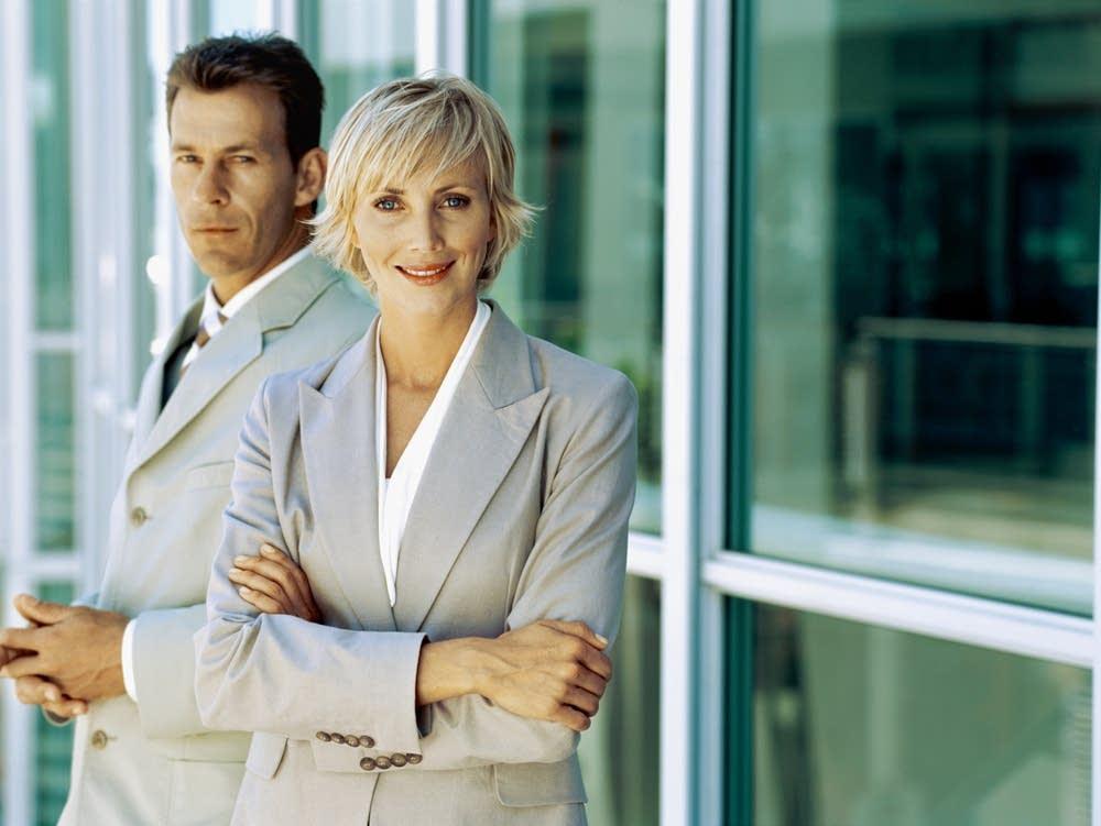 A businessman and a businesswoman