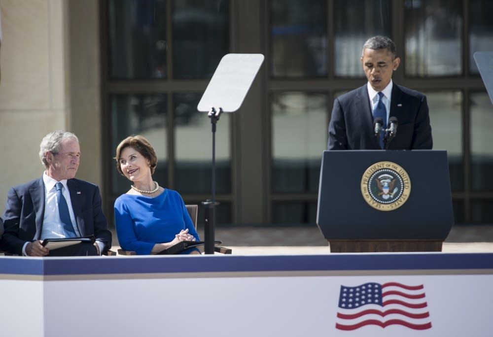 George, Laura Bush and Obama