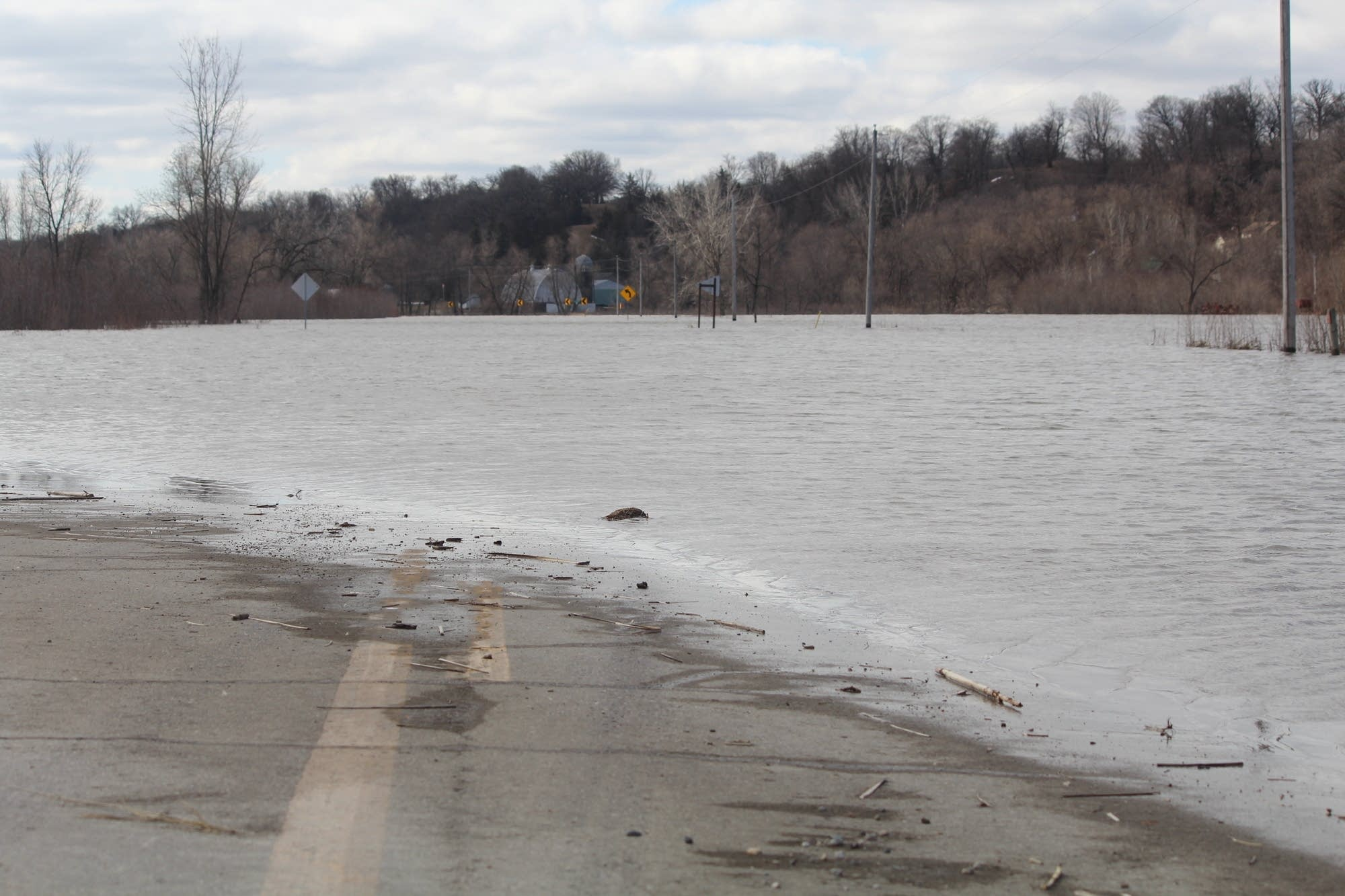 A road near Henderson, Minn., disappears into the floodwaters.