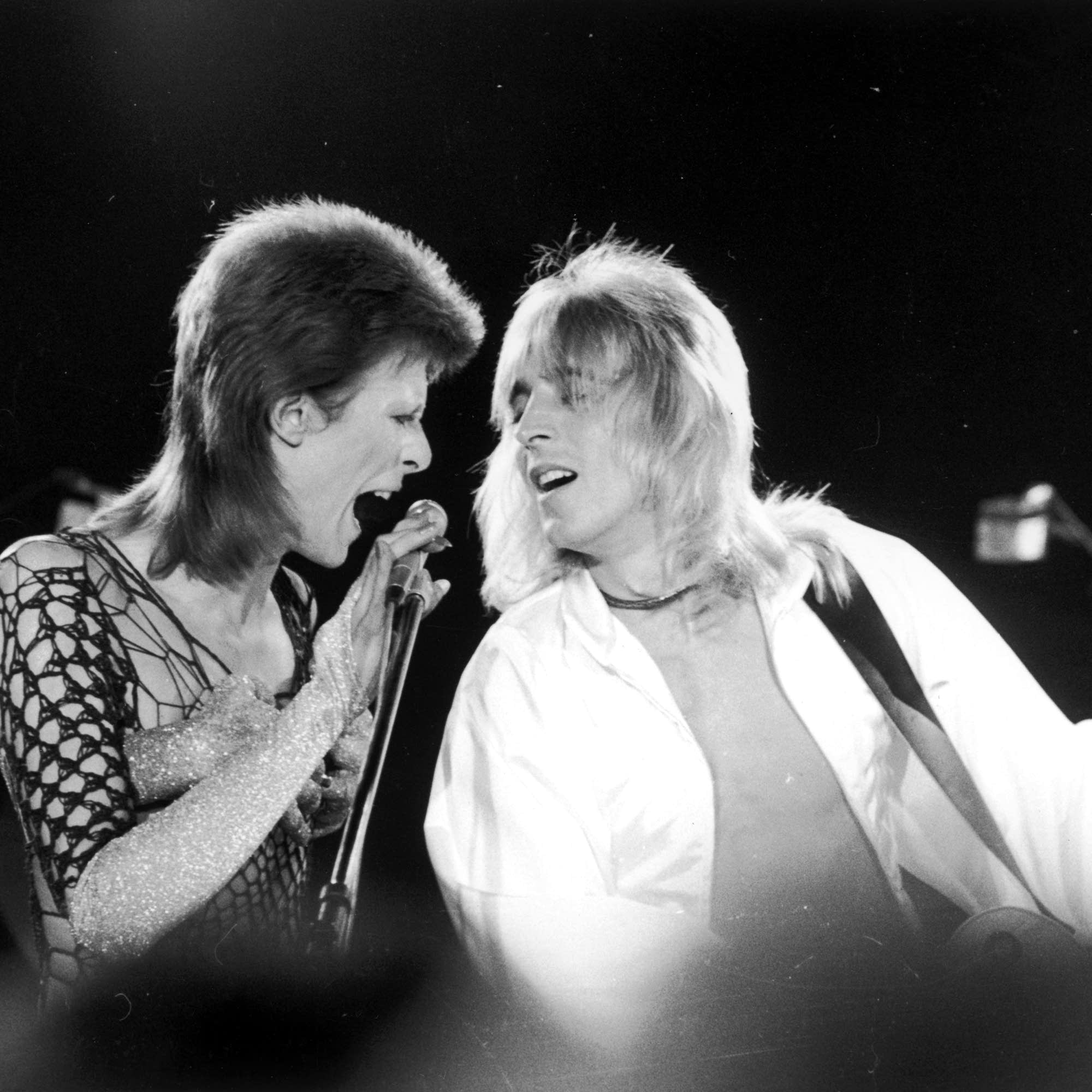David Bowie and Mick Ronson in 1973
