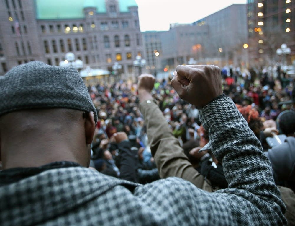 Hundreds of demonstrators gathered.