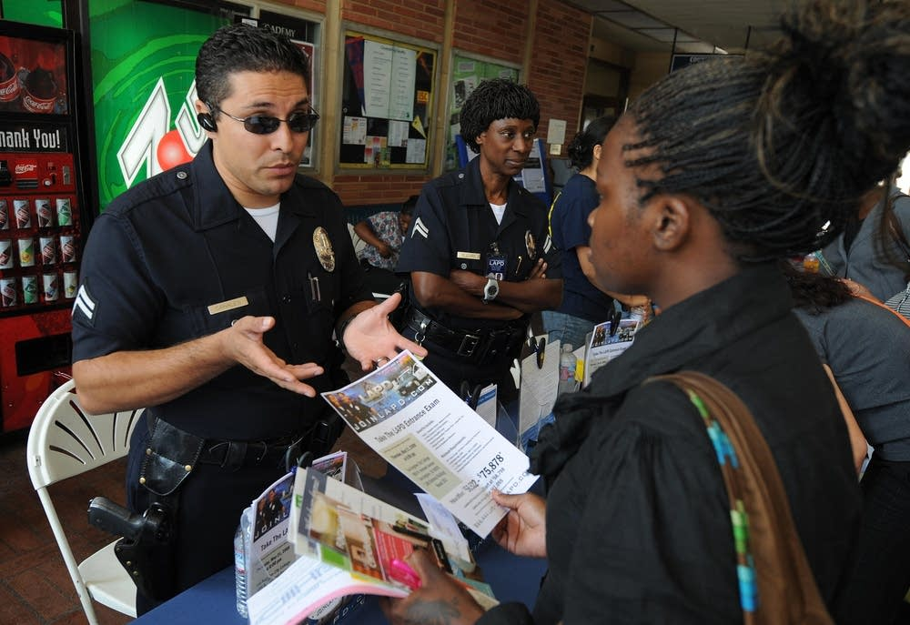 LAPD police officer at job fair