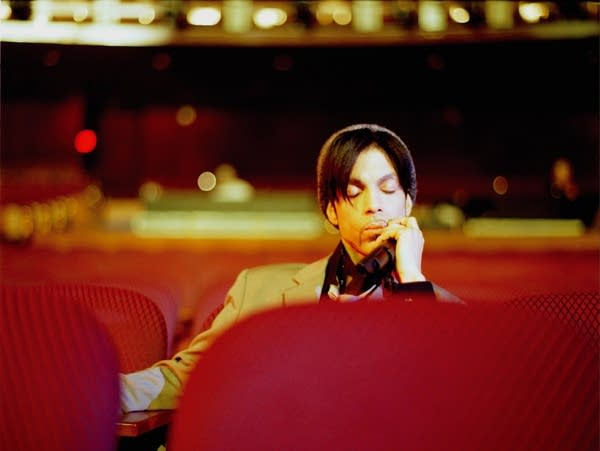 Prince relaxing after sound check at the Kodak Theatre in Hollywood.