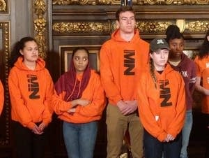 Governor Mark Dayton held a press conference with area students