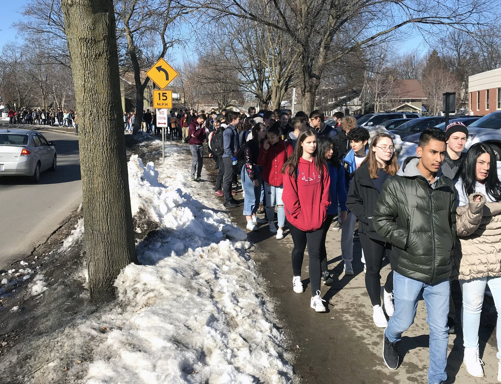 Students walk out of classes in south Minneapolis.