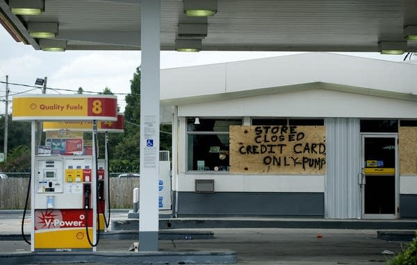 A gas station offers its limitted gasoline service