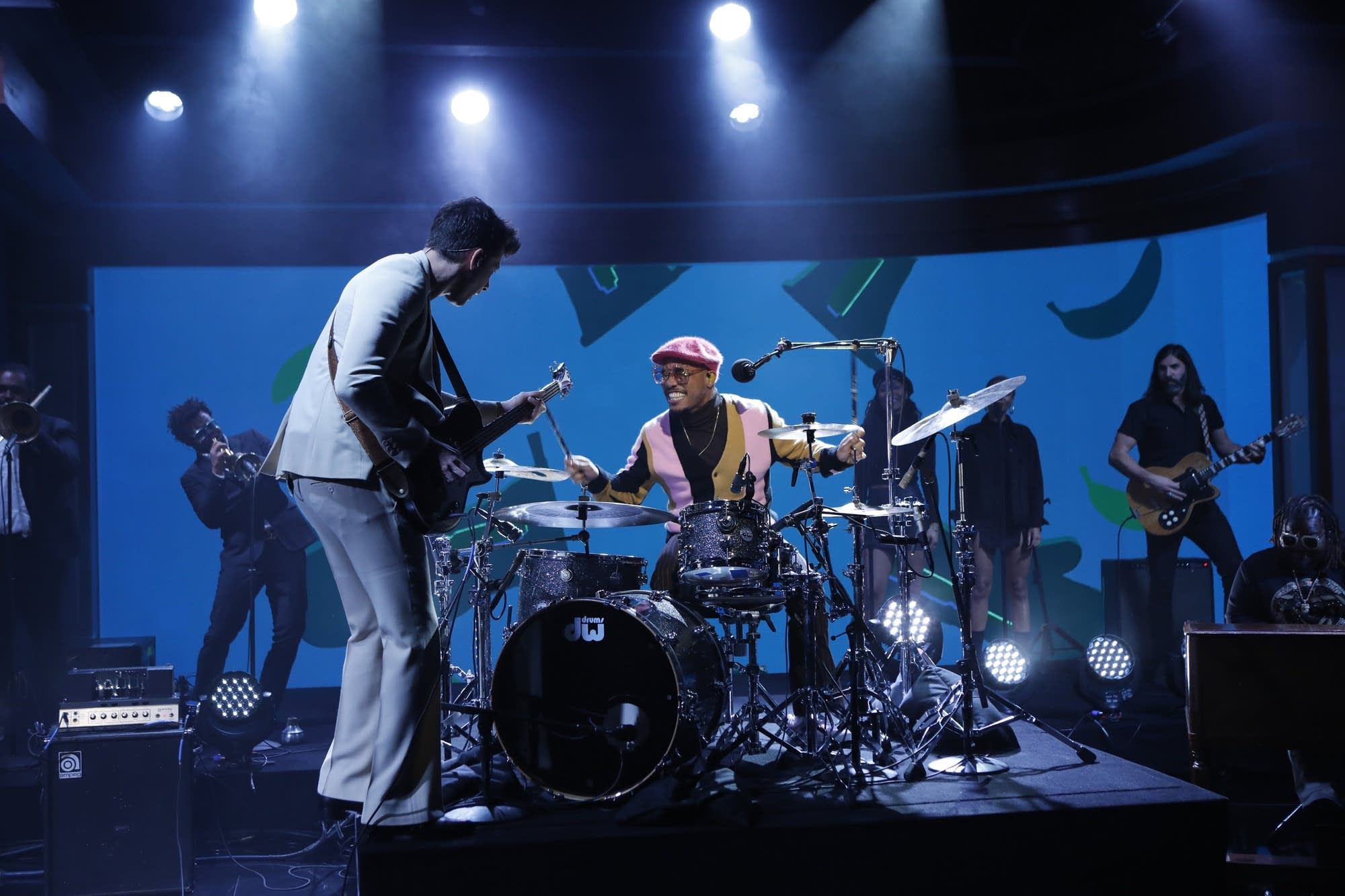 Mark Ronson and Anderson.Paak perform on Jimmy Kimmel Live