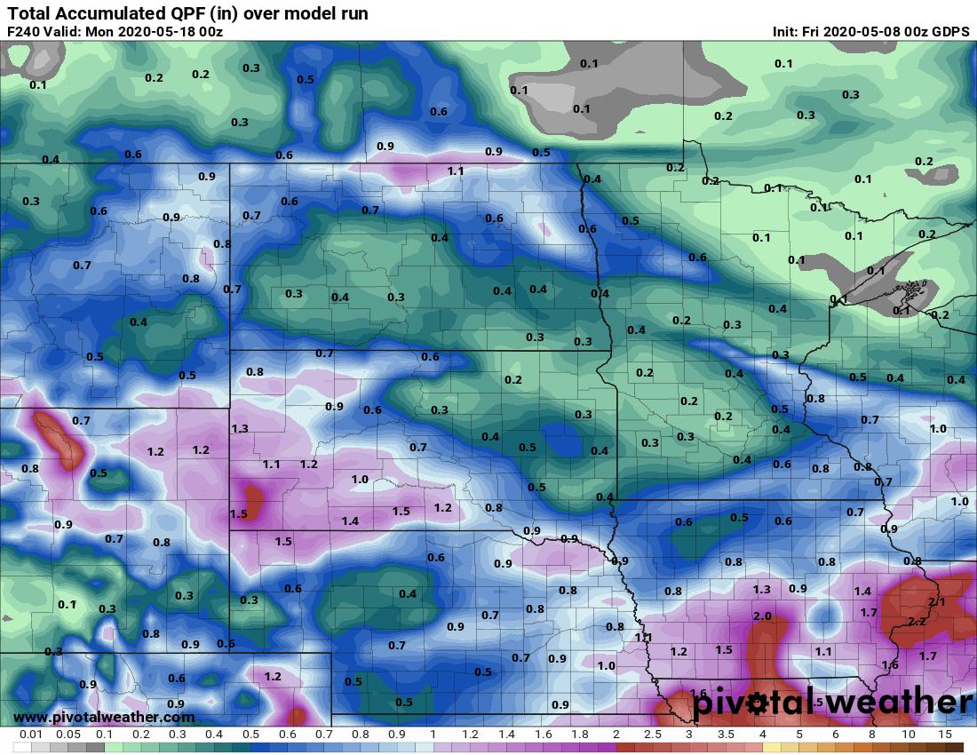 Canadian model precipitation output for the next 10 days