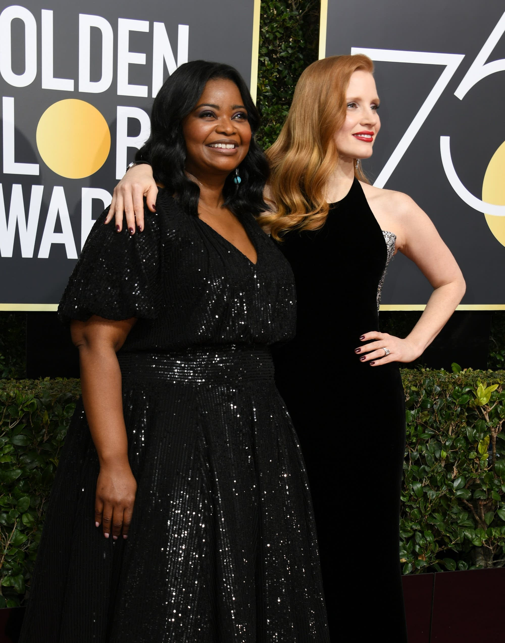 Jessica Chastain, right, and Octavia Spencer.