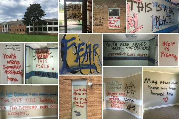 Graffiti on the walls of the abandoned Riverside Academy building in Wichita, Kansas.