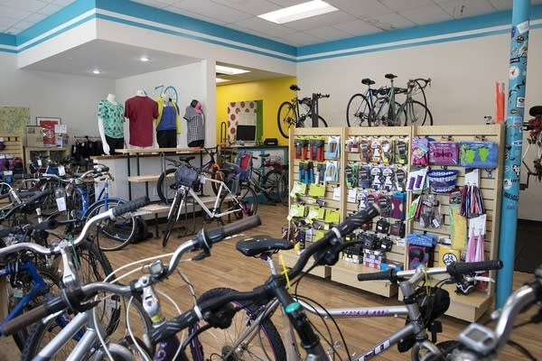 Bikes in a store.