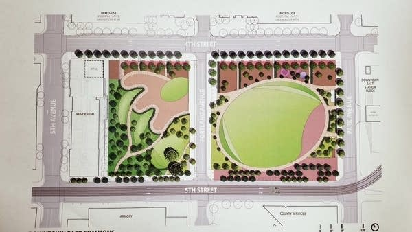 Rendering of plan for the Downtown East Commons