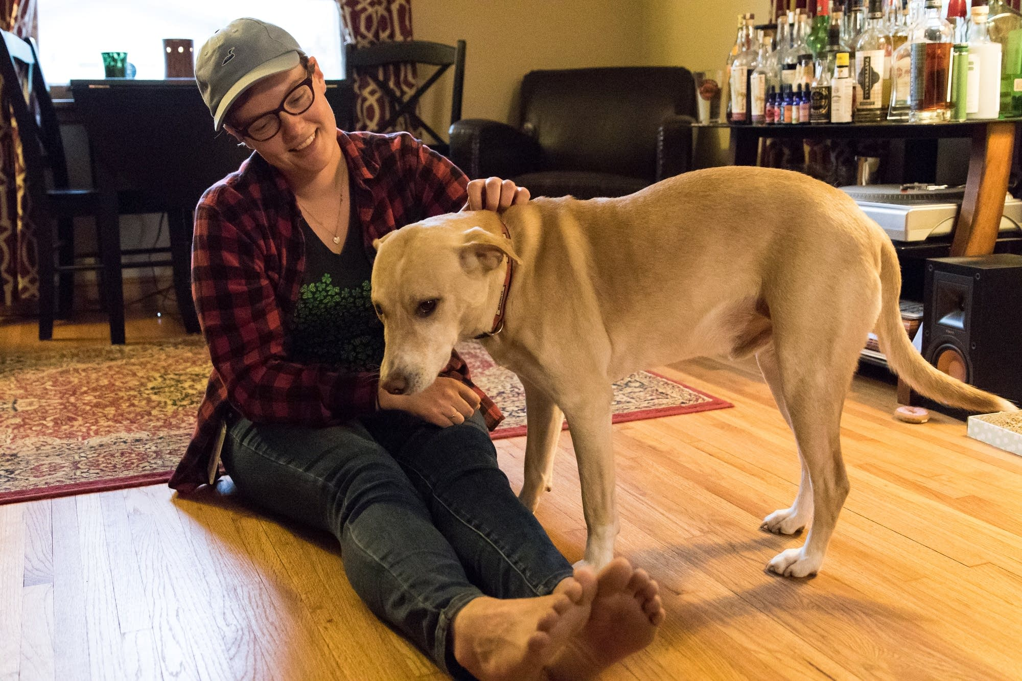 Colleen Detloff scratches Archie's head in his owner's the living room.