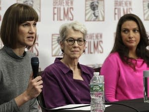 Rachel Crooks, left, Jessica Leeds, center, and Samantha Holvey
