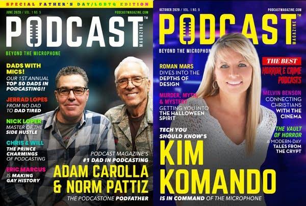 2 covers of Podcast Magazine featuring Adam Carolla and Kim Komando