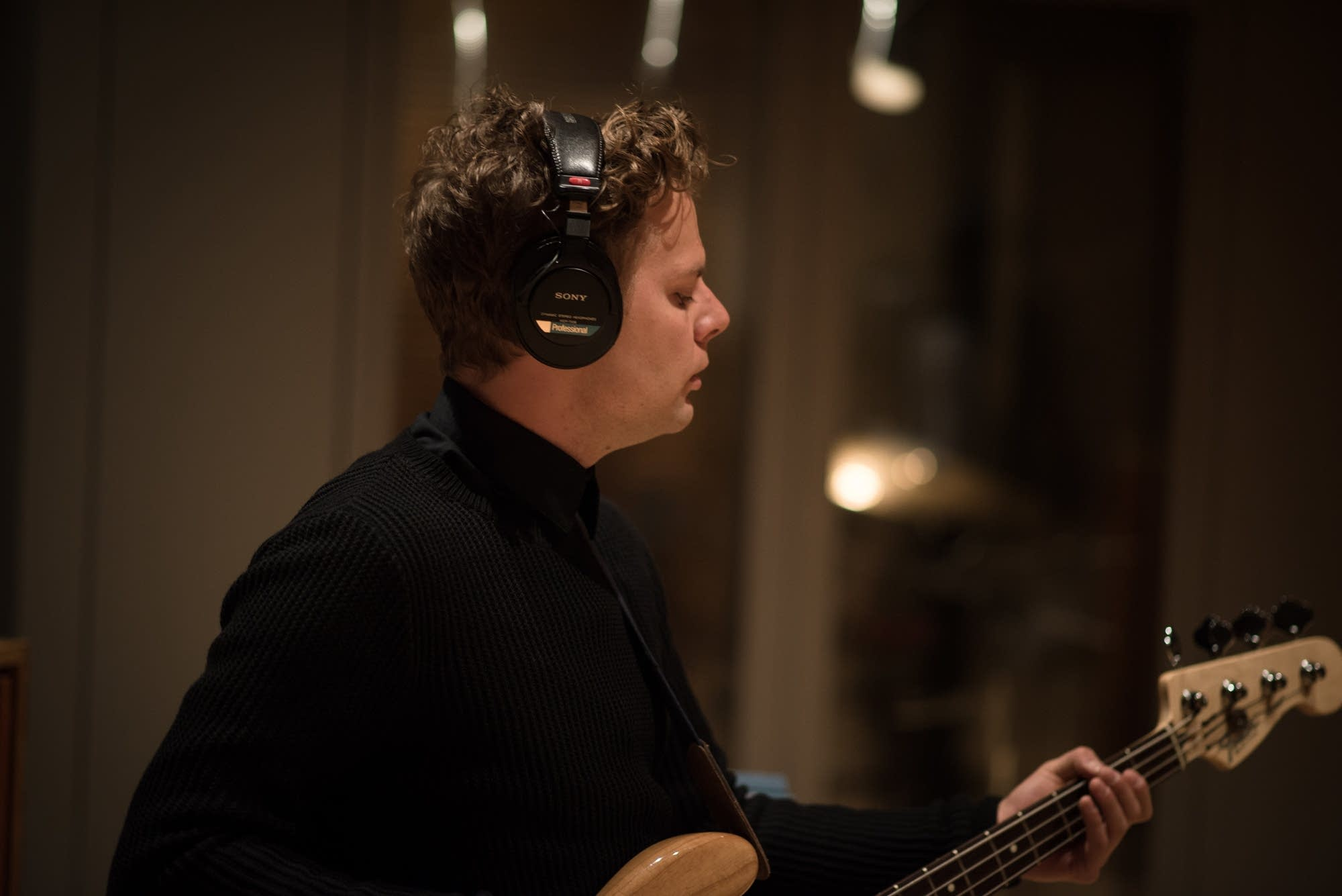 Thomas on bass with Meg Mac in the studio.