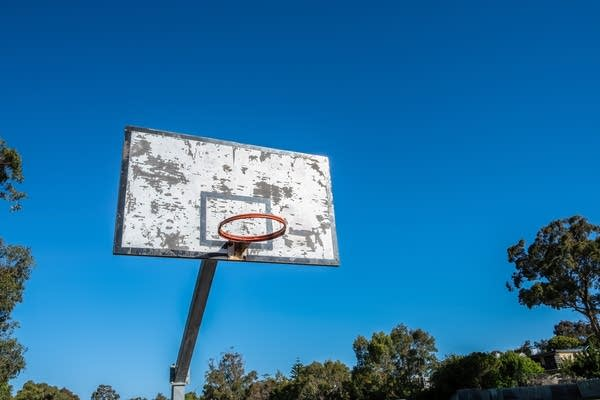 Stock photo of a basketball hoop without a net