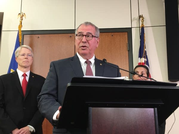 Henn. Co. Attorney Mike Freeman at a press conference Tuesday.