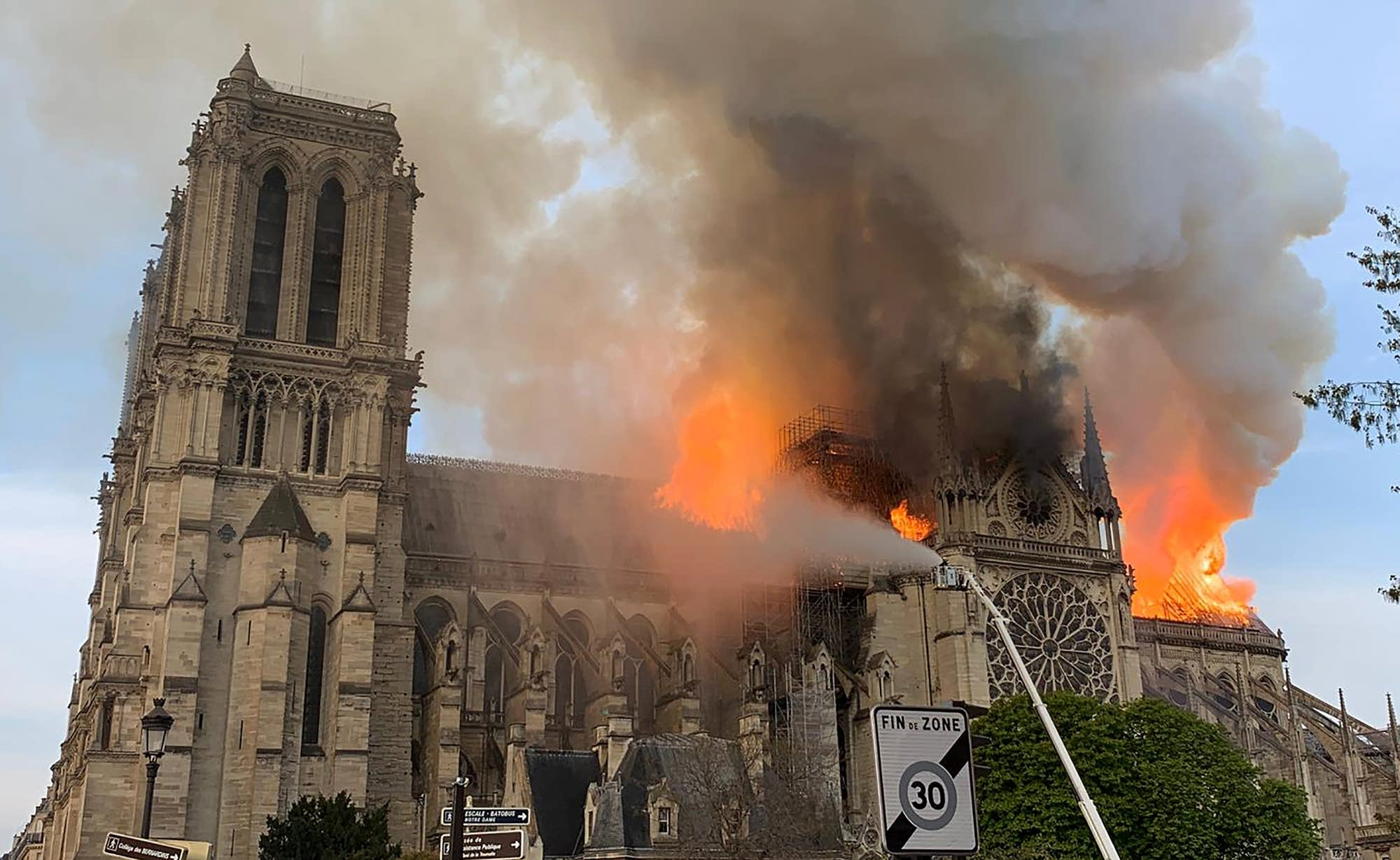 Flames and smoke are seen billowing from the roof at Notre Dame Cathedral