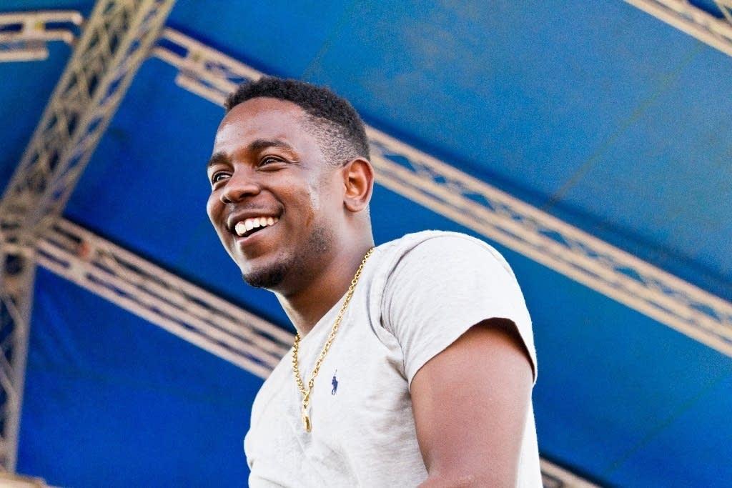 Kendrick Lamar smiling at Soundset 2012