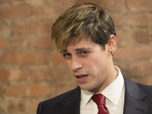 Milo Yiannopoulos speaks during a news conference
