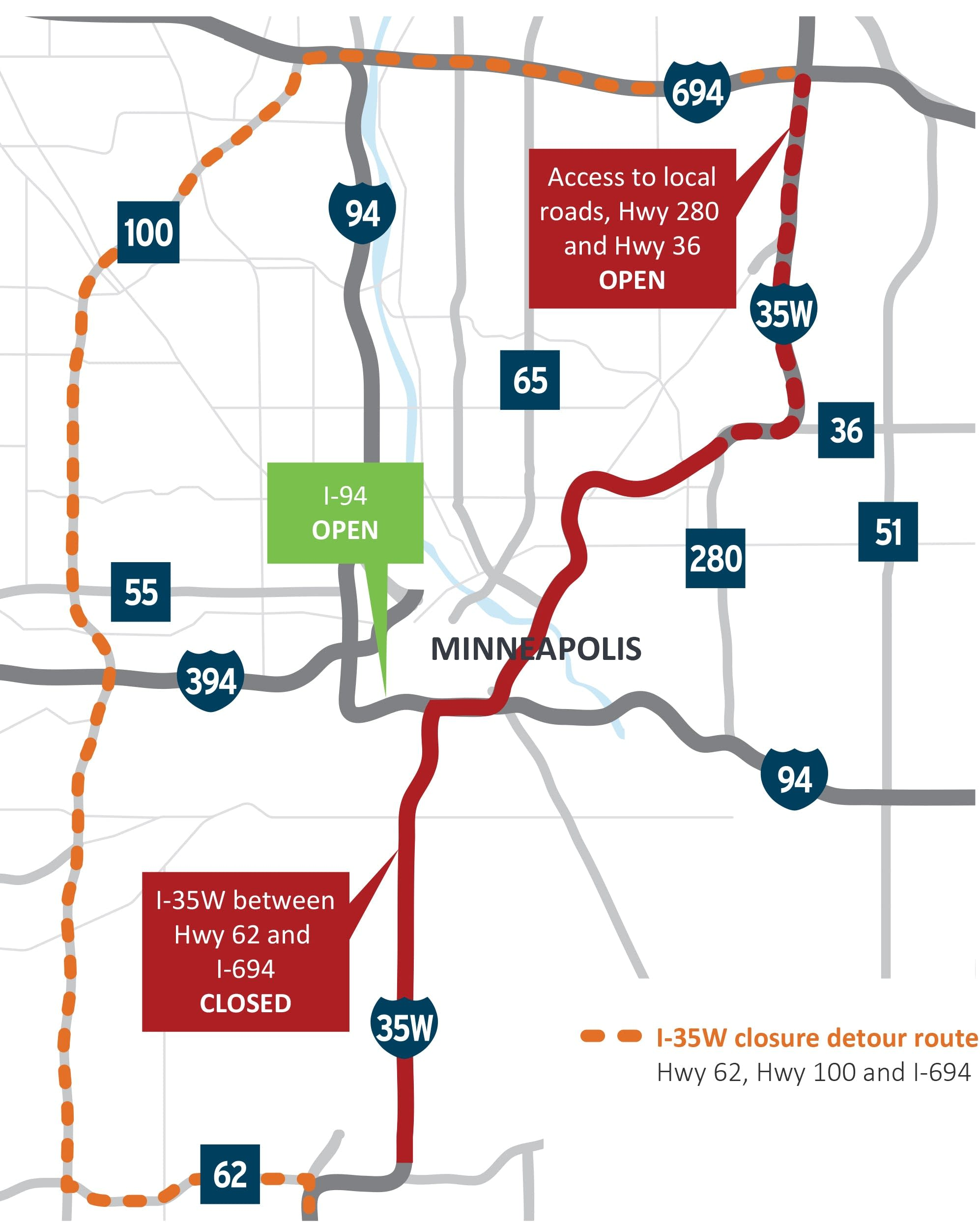 A huge stretch of I-35W is closing the next 2 weekends in