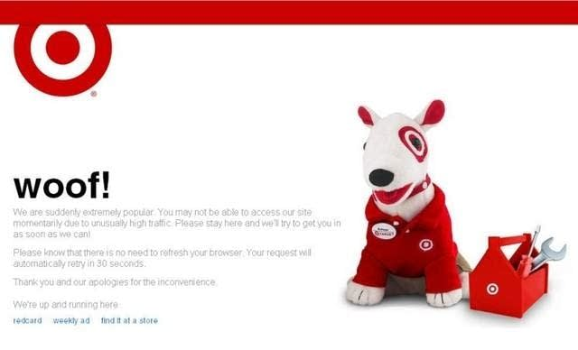 Target.com crash