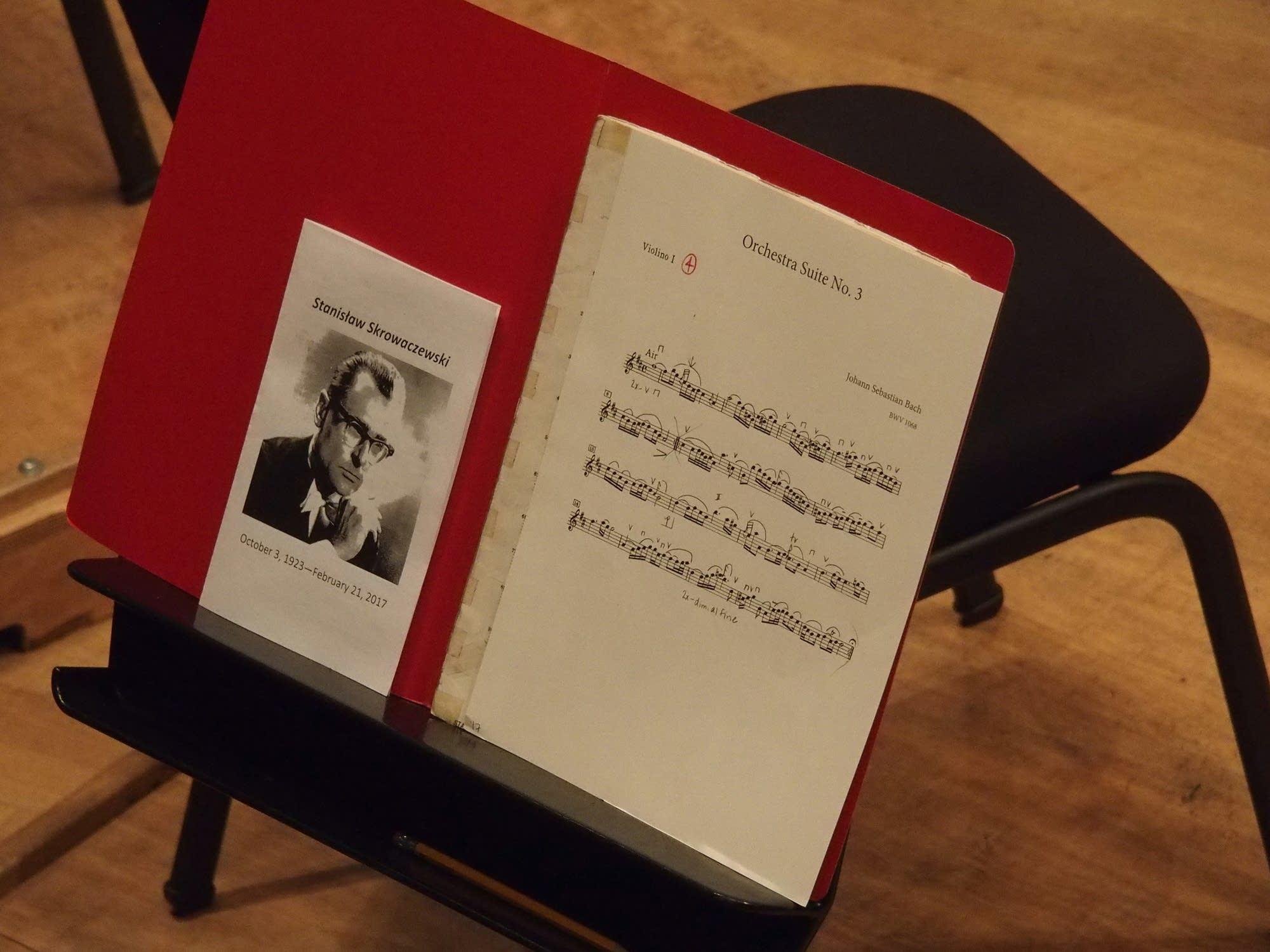 The Stanislaw Skrowaczewski memorial concert program