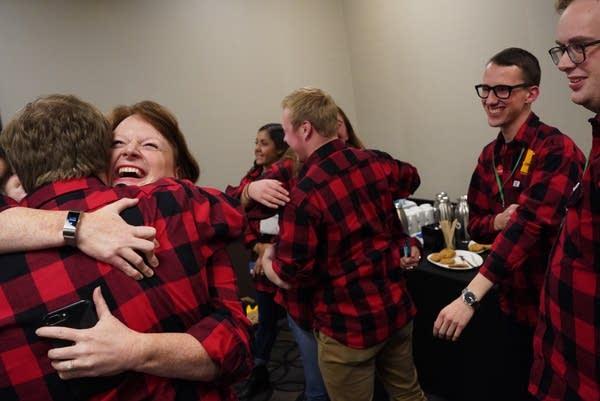 DFL gubernatorial candidate Tim Walz' campaign staff celebrate.